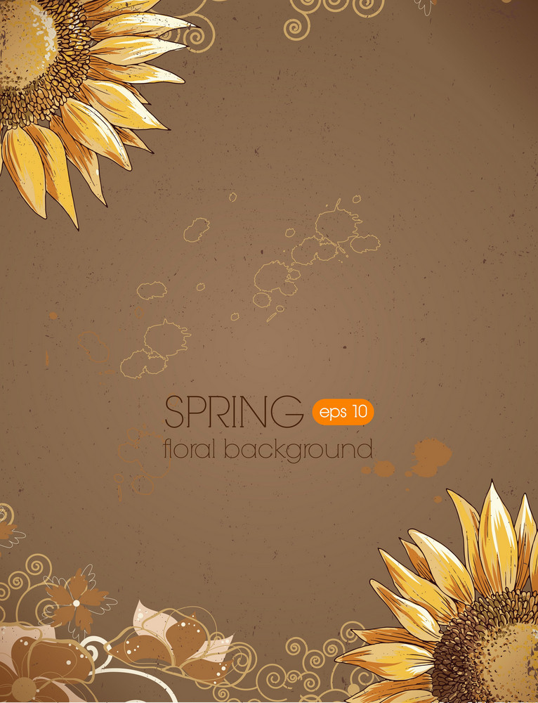 Floral Background Vector Illustration With Sun Flower