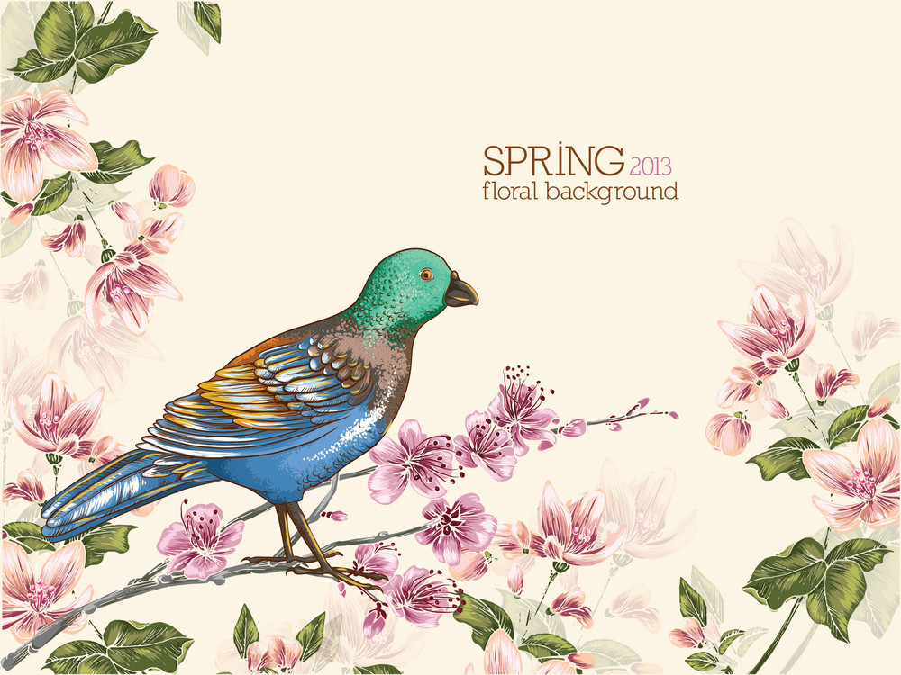 Floral Background Vector Illustration Witrh Bird And Cherry Branches