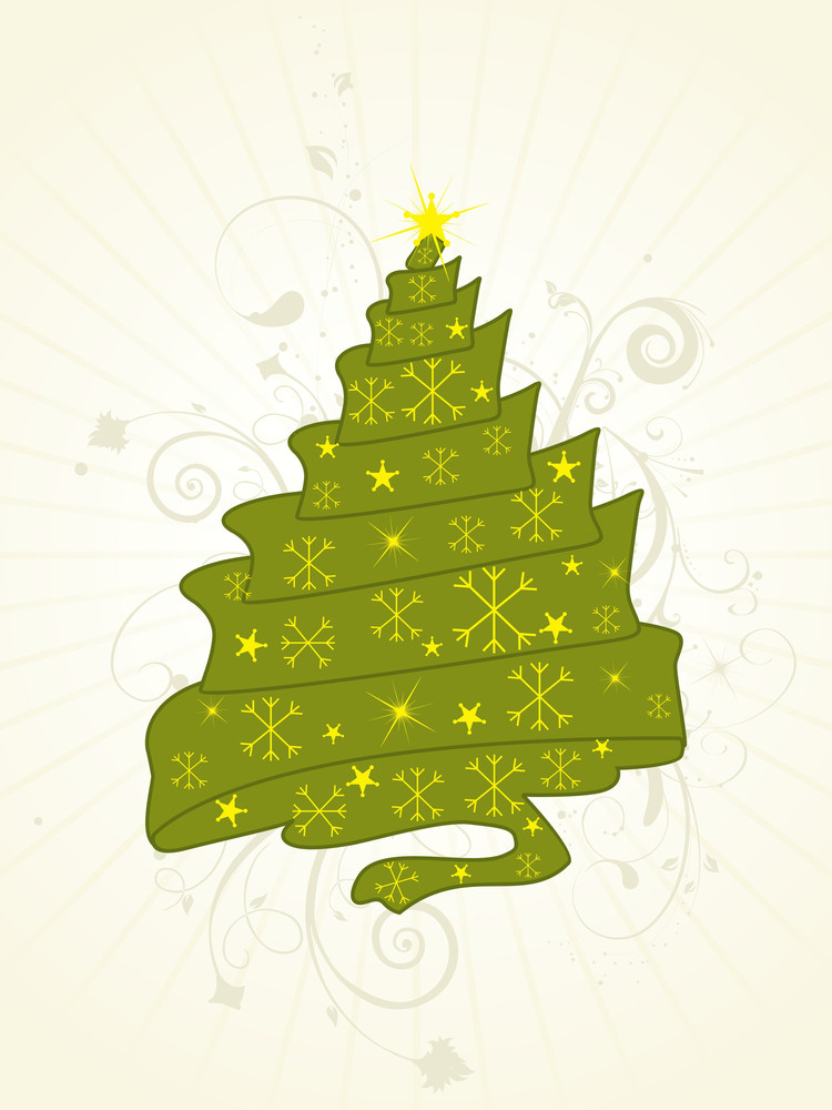 Floral Background With Curve Xmas Tree