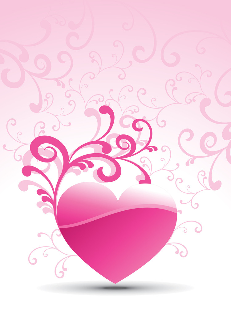 Floral Background With Floral Decorated Heart