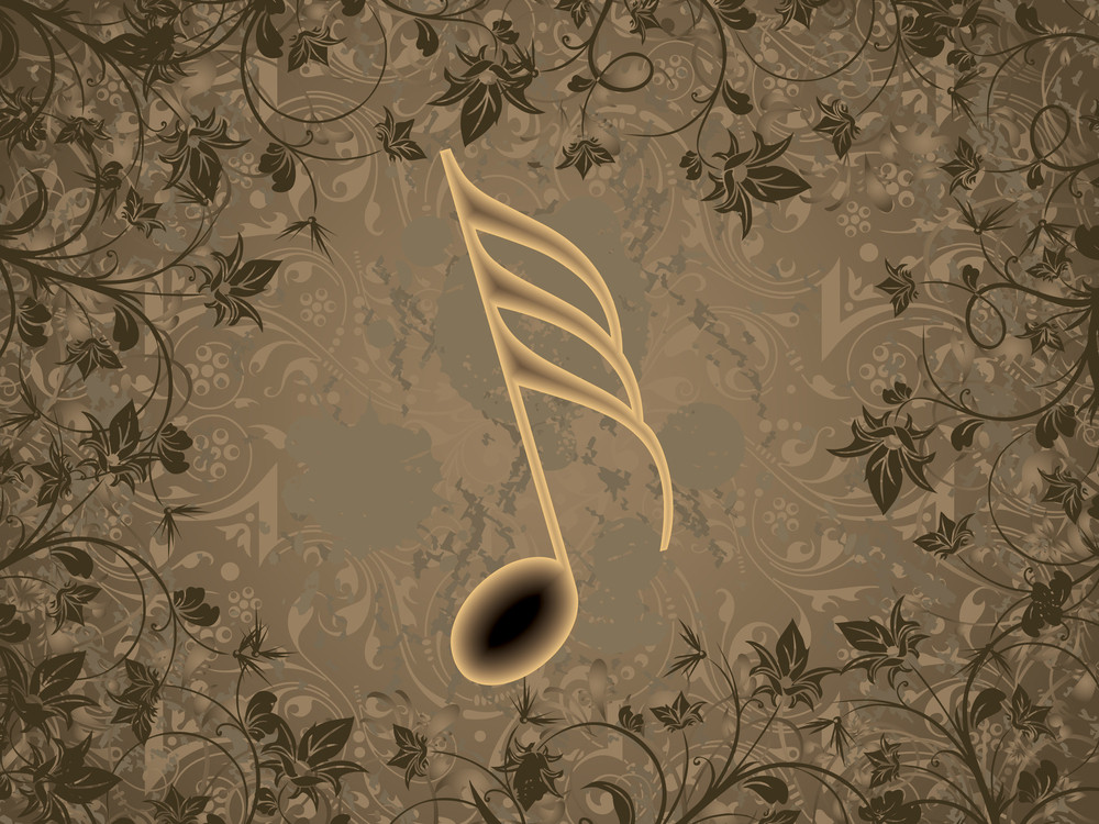 Floral Background With Grungy Music Note