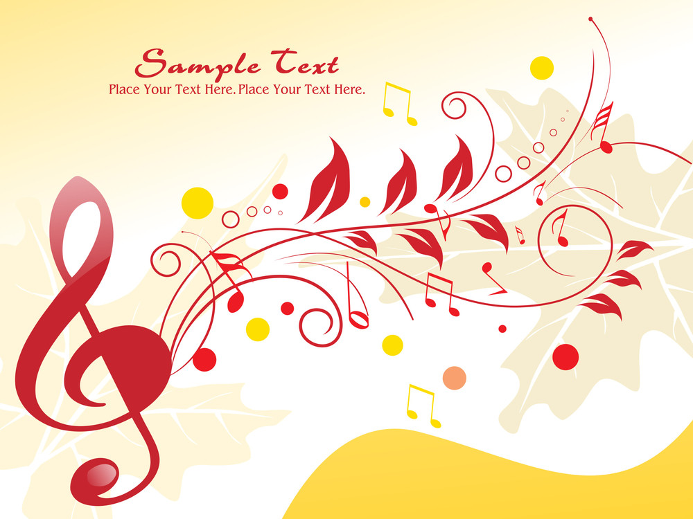 Floral Background With Musical Notes