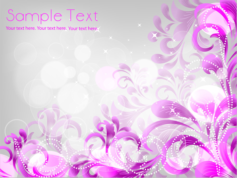 Floral Background With Pink Glitters.