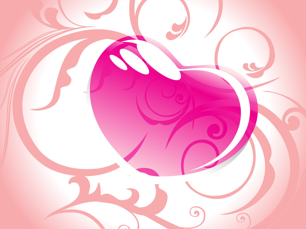 Floral Background With Romantic Pink Heart