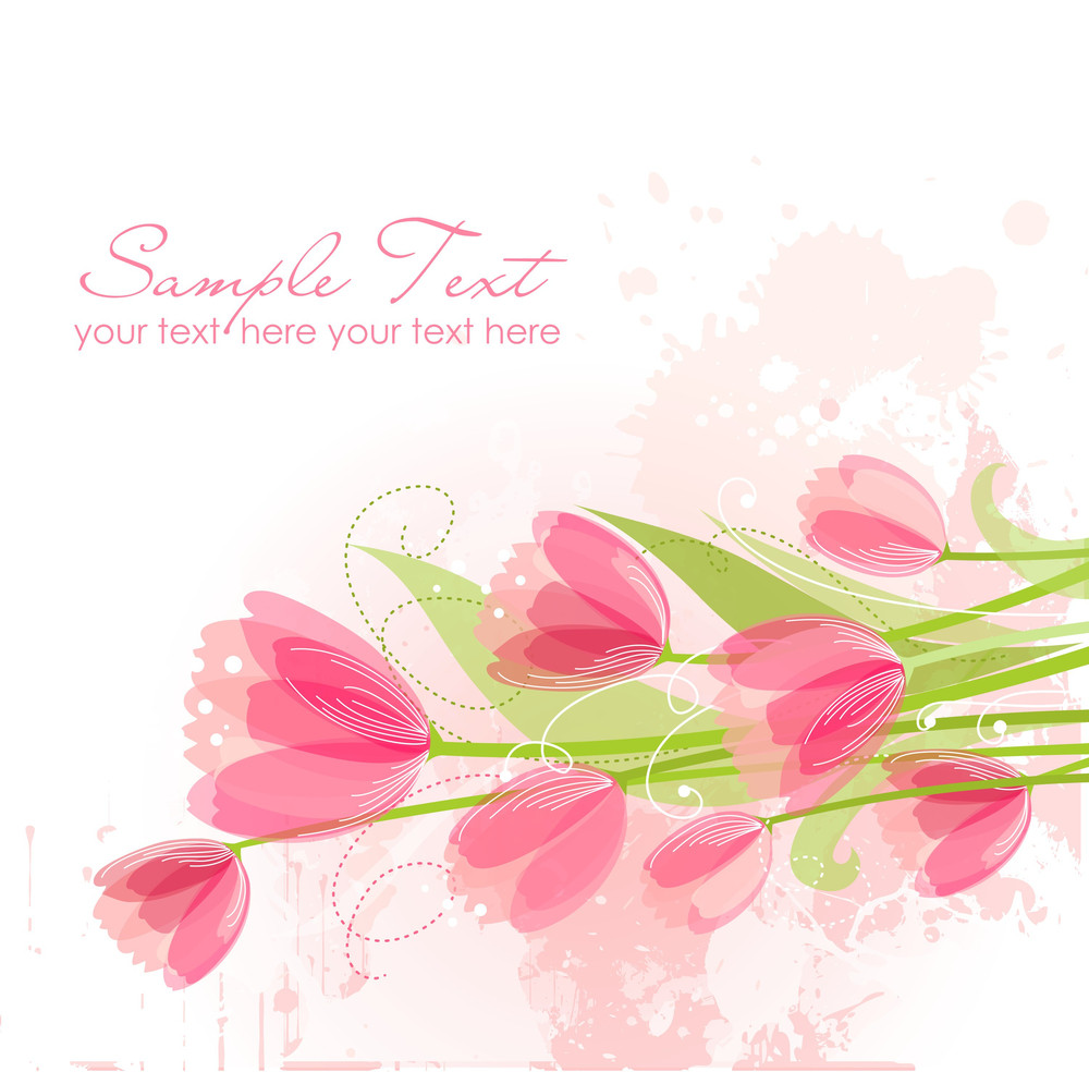 Floral Background With Tulips