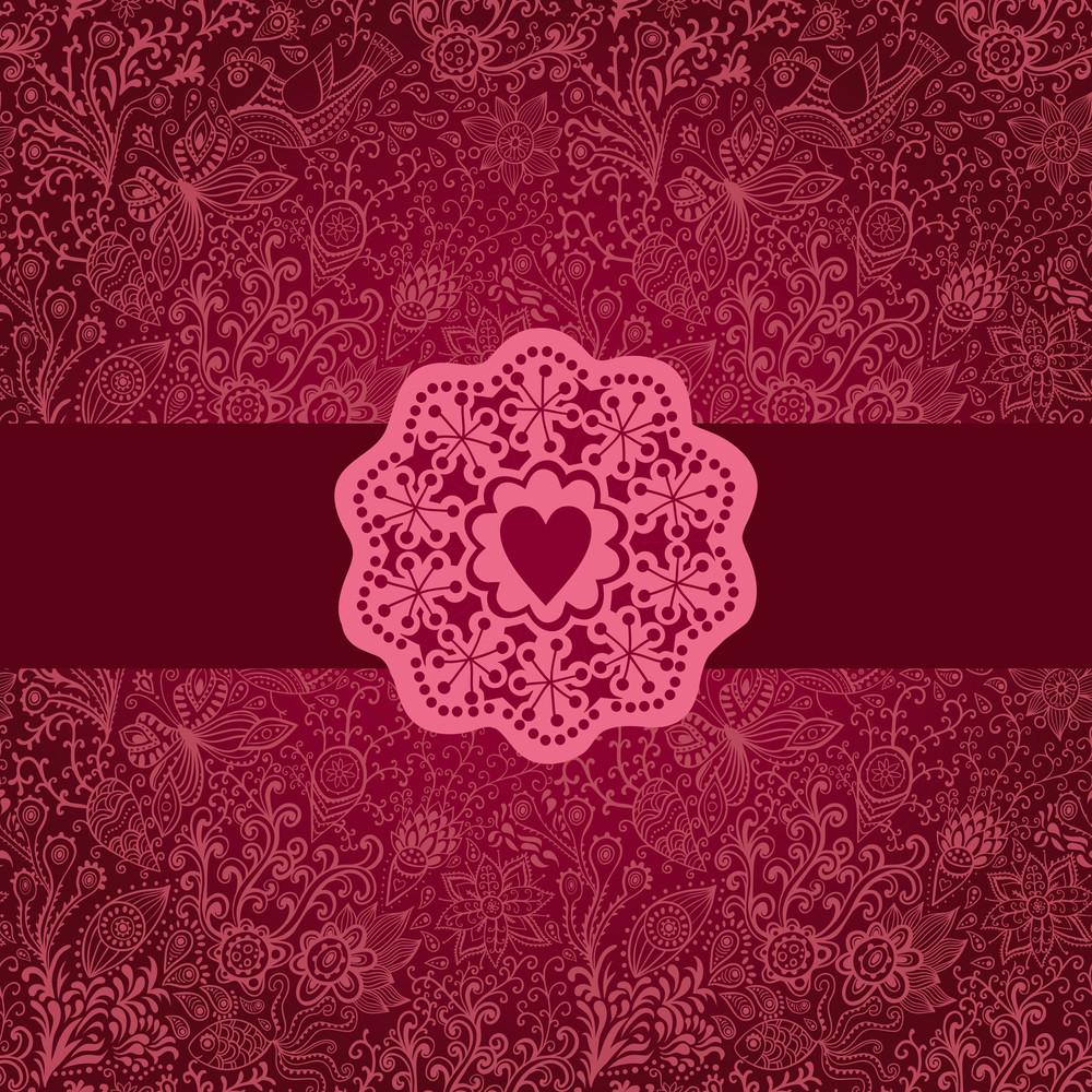 Floral Background With Vintage Label.gorgeous Seamless Floral Background. Floral Background In Red With Vintage Label Design.