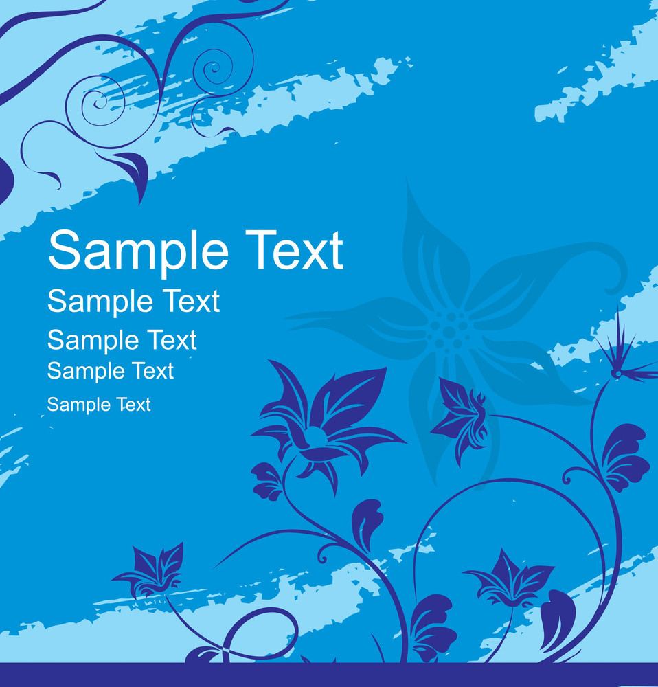 Floral Banner Vector For Sample Text In Blue