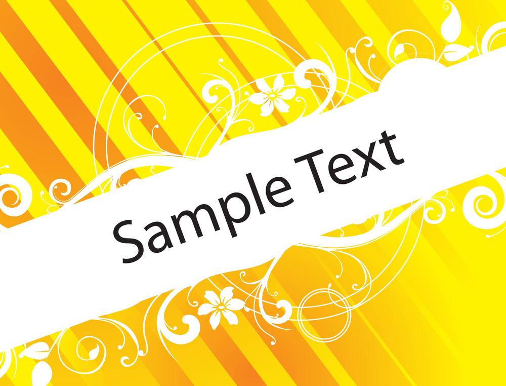 Floral Banner Vector For Sample Text In Yellow