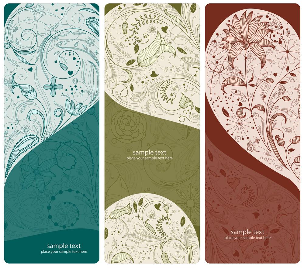Floral Banners Set Vector Illustration