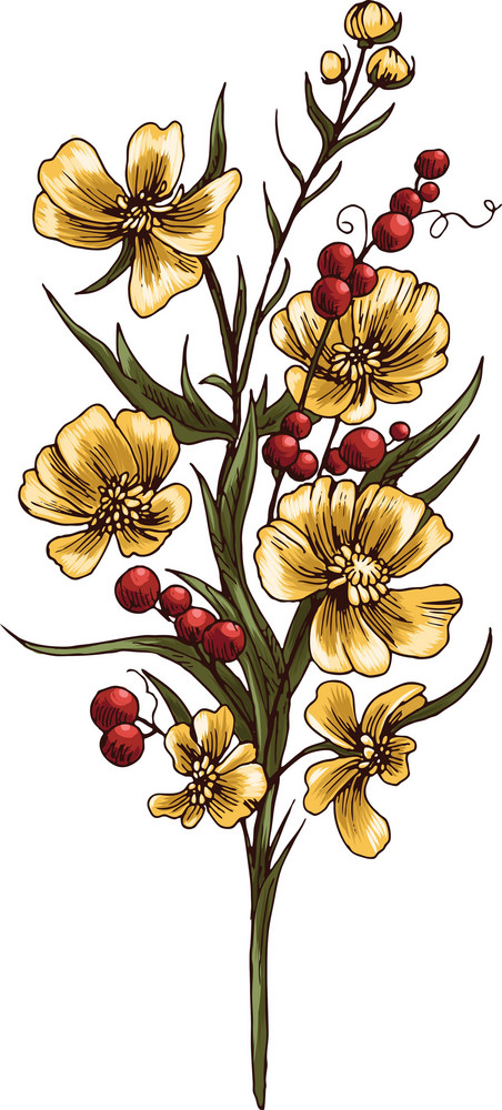 Floral Bouquet Vector Element