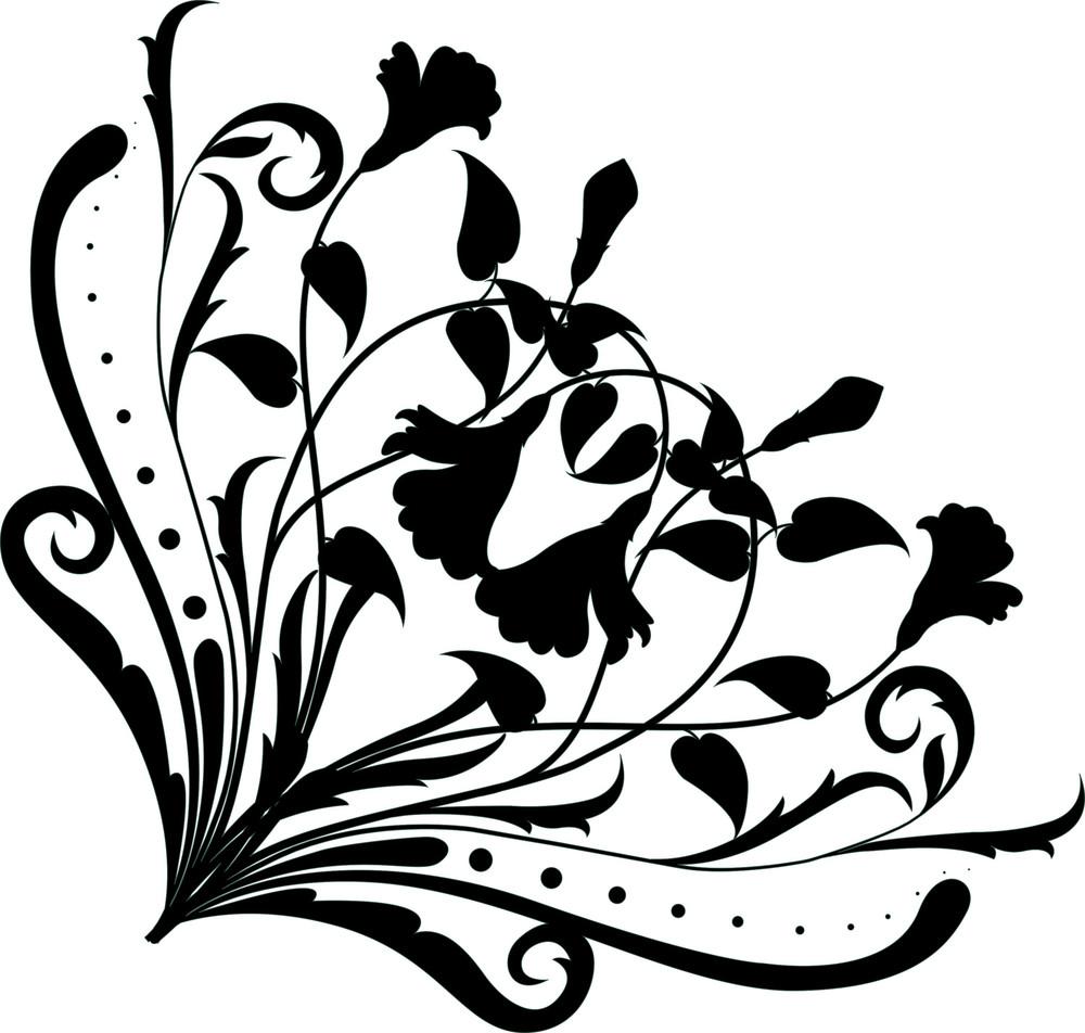 Floral Corner Silhouette