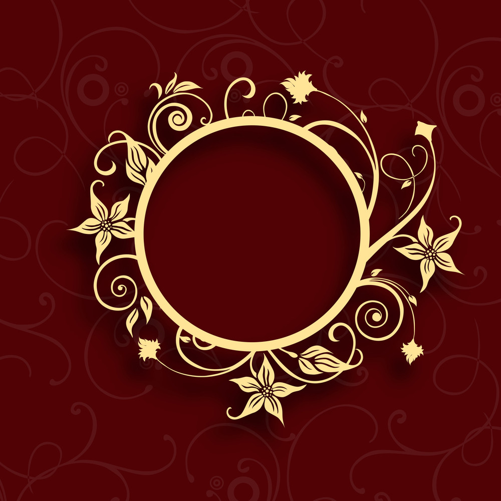 Floral Decorated Golden Photo Frame On Abstract Background