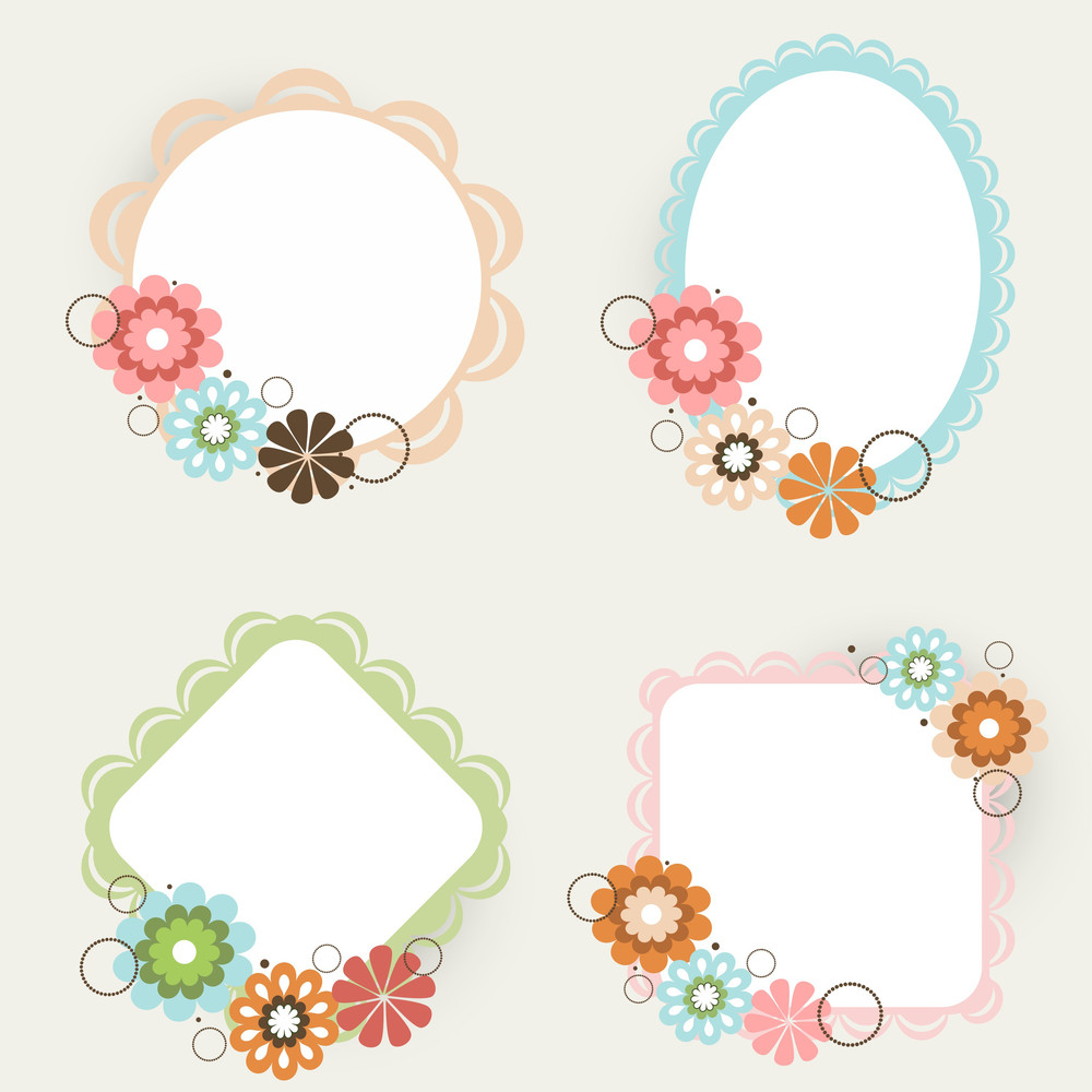 Floral Decorated Photo Frames In Different Shapes Royalty-Free Stock ...