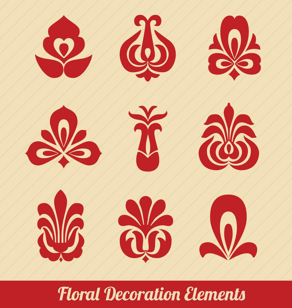 Floral Decoration Elements - Stylized Flowers