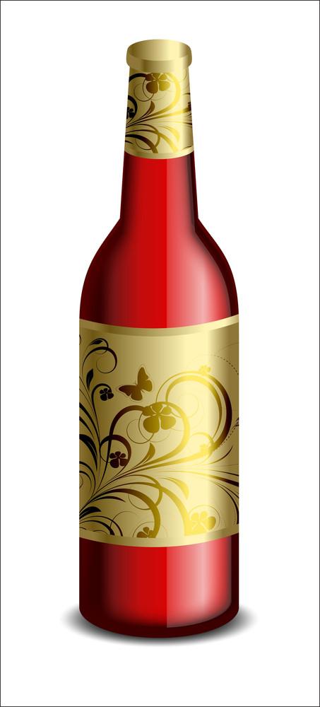 Floral Design Champaign Bottle