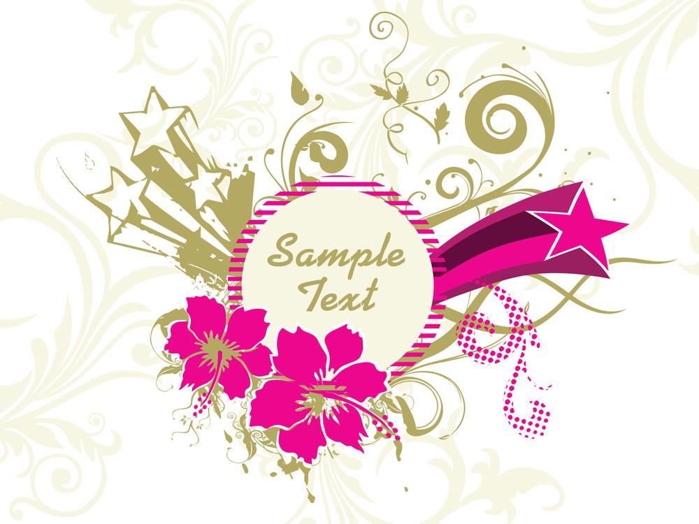 Floral Design Frame With Artwork Background