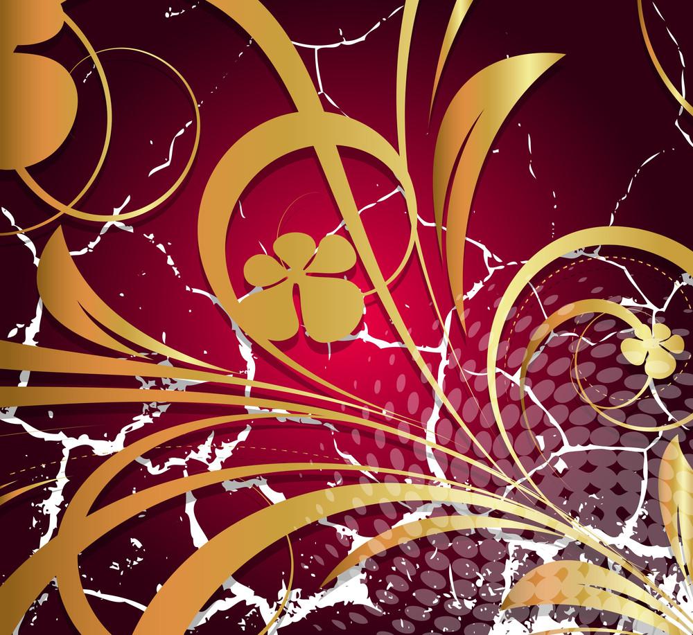 Floral Design Grunge Damage Wall
