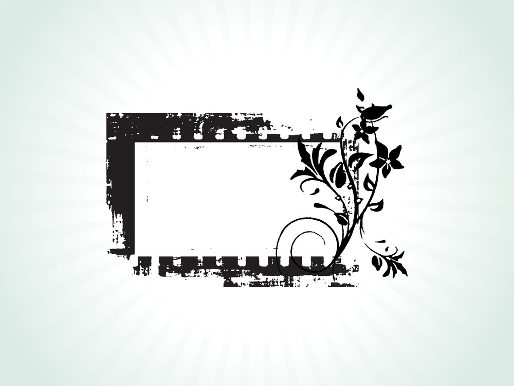 Floral Design Grungy Frame In Green