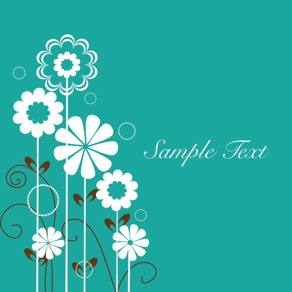 Floral Design Vector Background With Text Space.