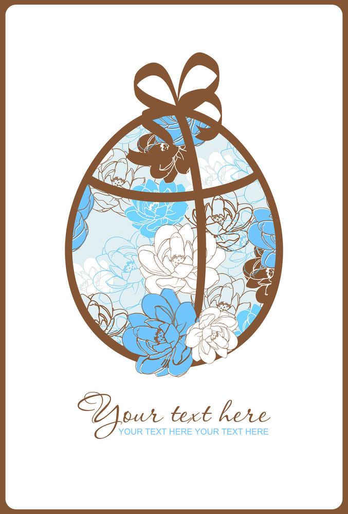 Floral Easter Egg Greeting Card. Vector Illustration.