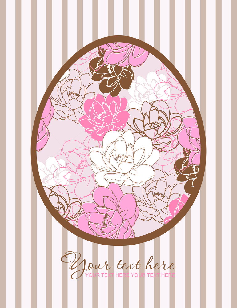 Floral Easter Egg Greeting Card. Vector Illustration.