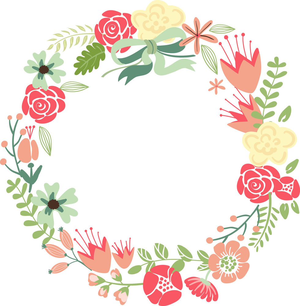 Floral Frame. Cute Retro Flowers Arranged Un A Shape Of The Wreath Perfect For Wedding Invitations And Birthday Cards