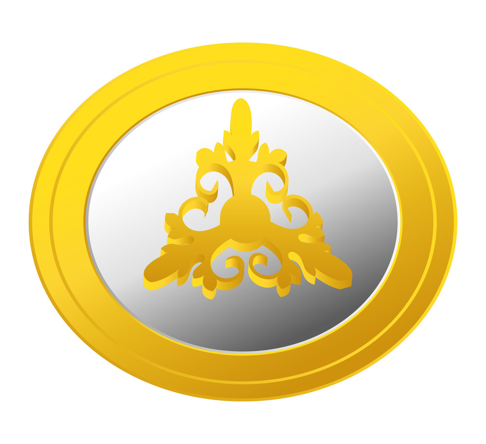 Floral Gold Coin Vector