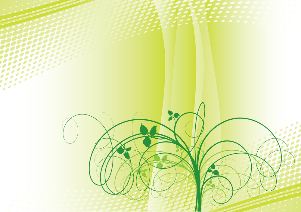 Floral Green Abstract. Vector.