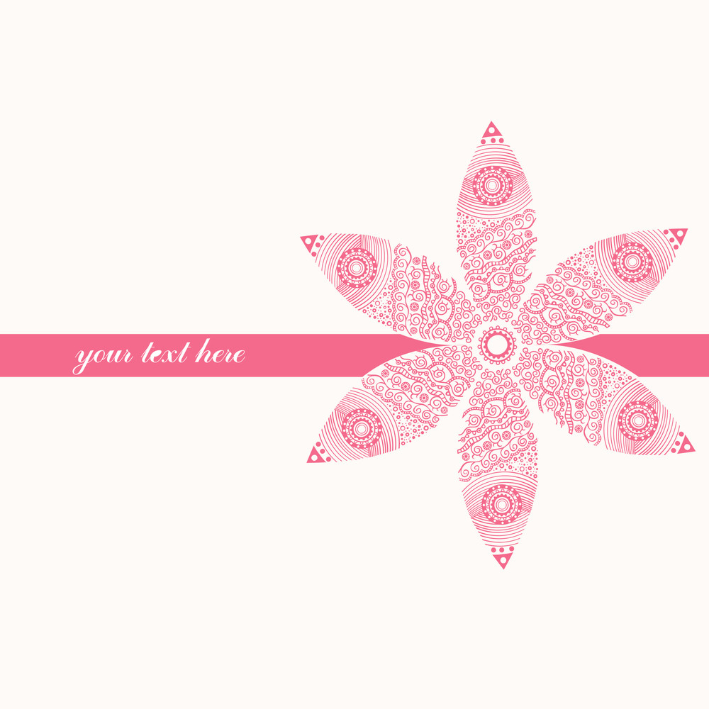 Floral Greeting Card With Place For Your Text And Curly Pattern On The Back