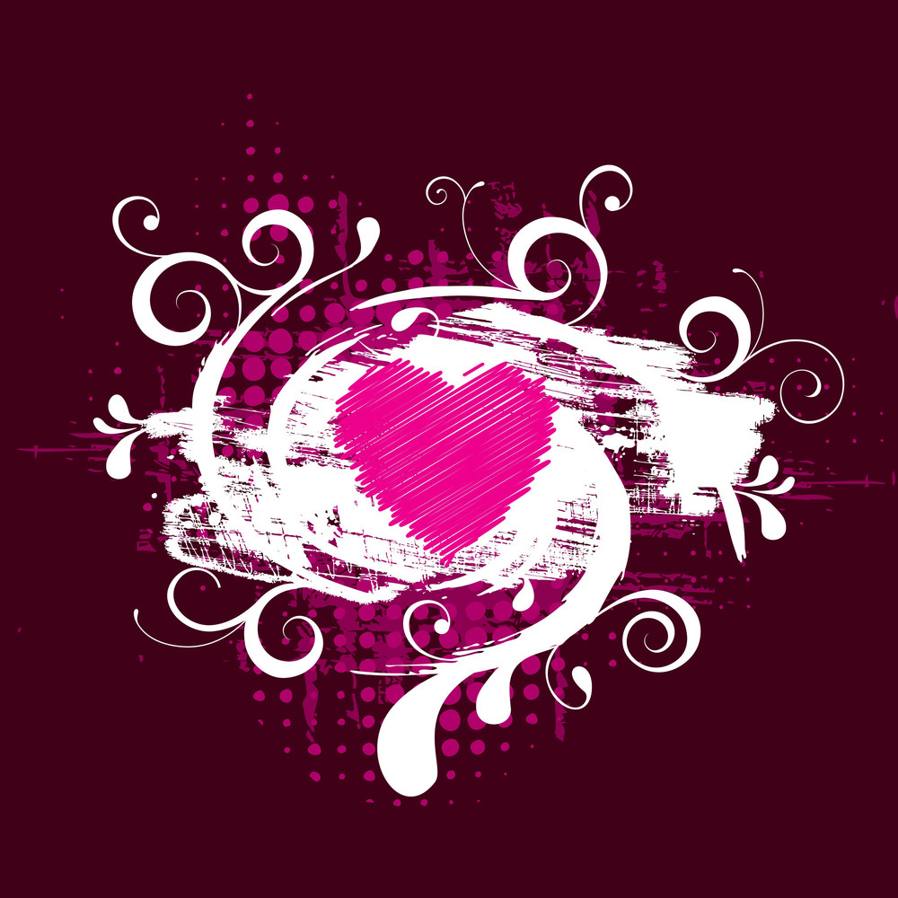 Floral Grunge Heart