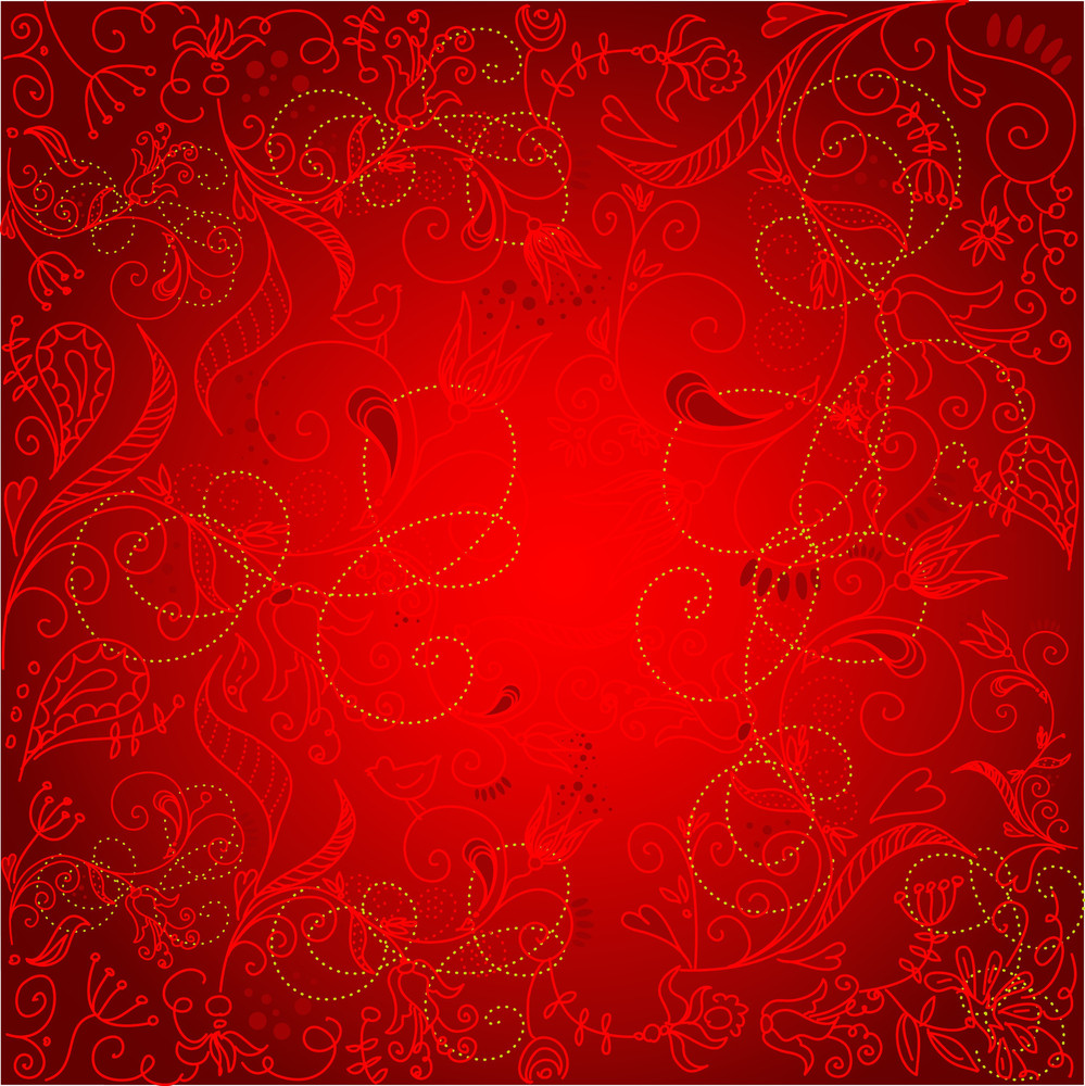 Floral Hand Drawn Christmas Background-