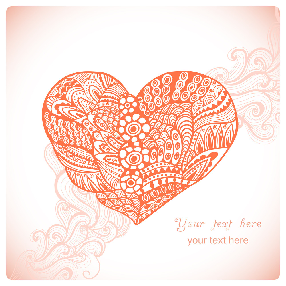 Floral Heart. Heart Made Of Abstract Ornament.doodle Heart