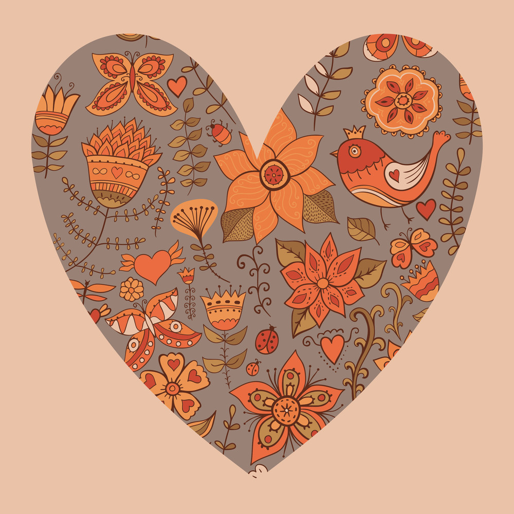 Floral Heart. Heart Made Of Flowers.doodle Heart