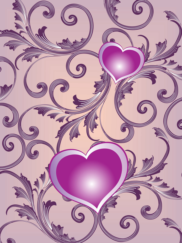 Floral Pattern With Heart