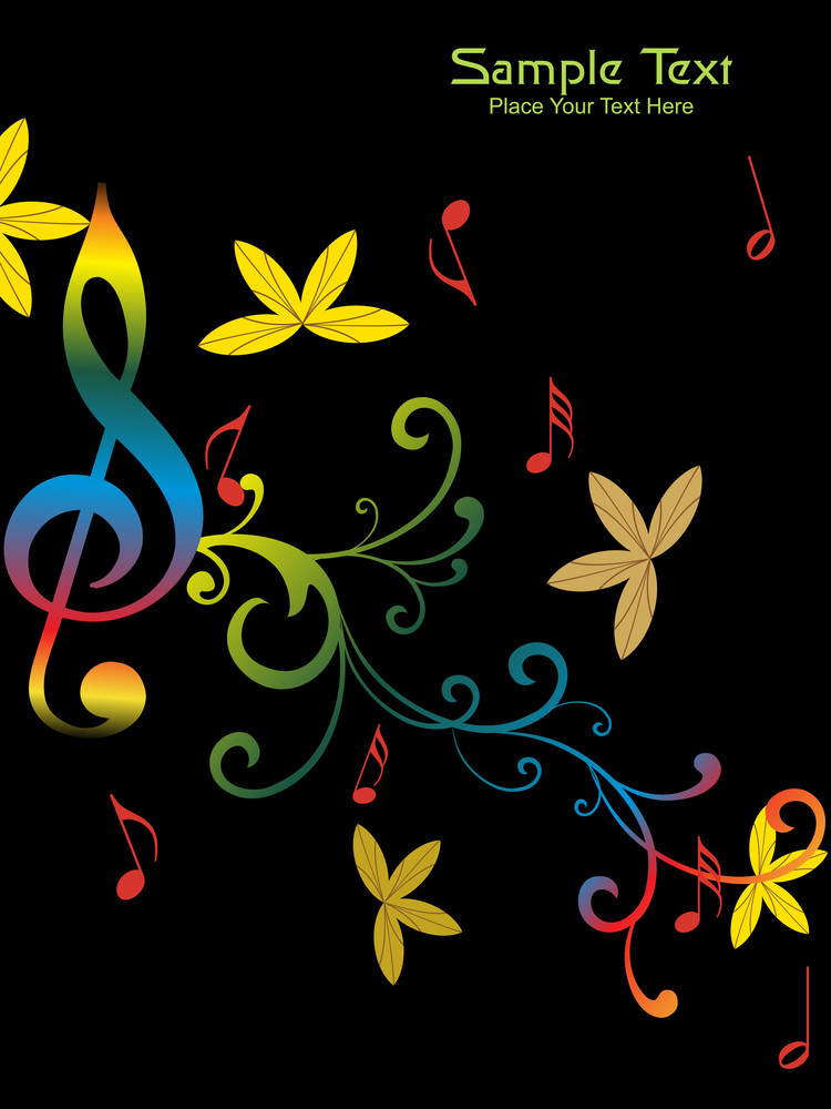 Floral Pattern With Musical Notes