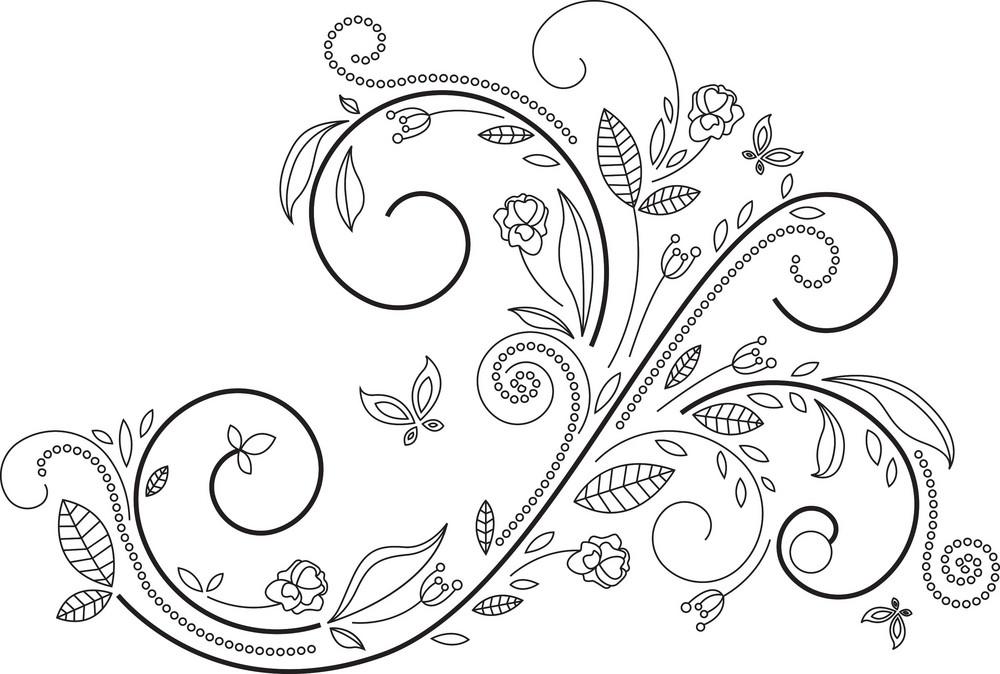 Floral Swirl Vector Element