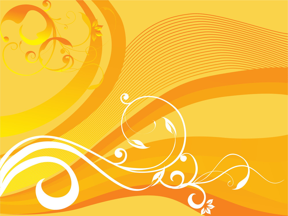 Floral Texture Of Creative Curves And Swirls In Yellow