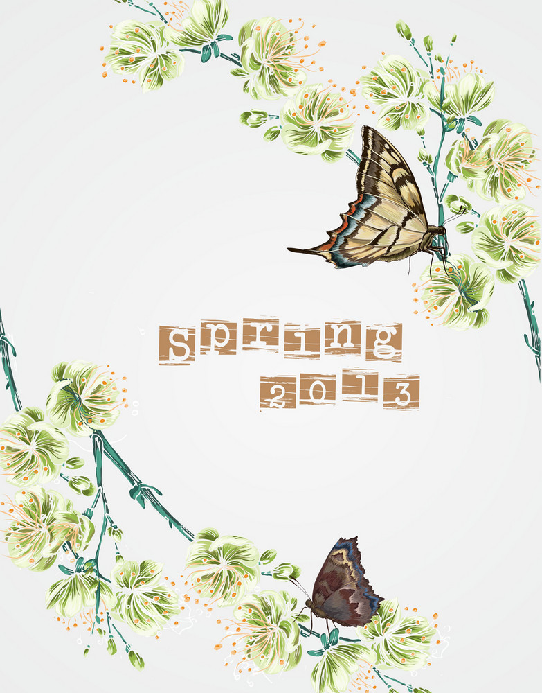 Floral Vector Background Illustration With Butterfly