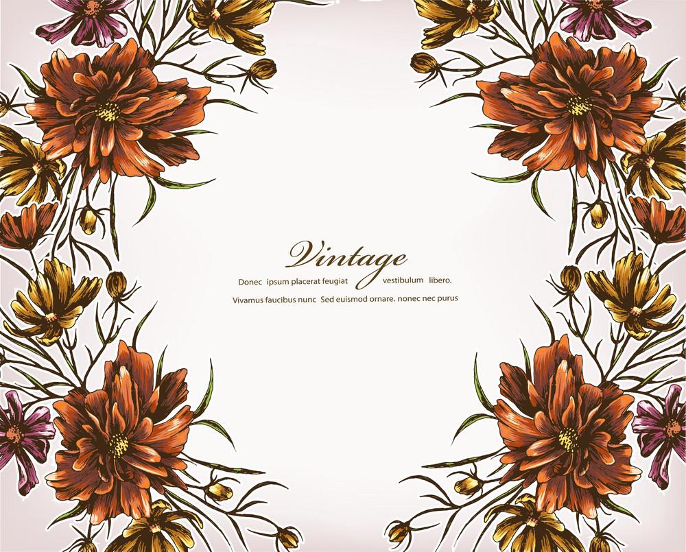 Floral Vector Background Illustration With Floral Frame