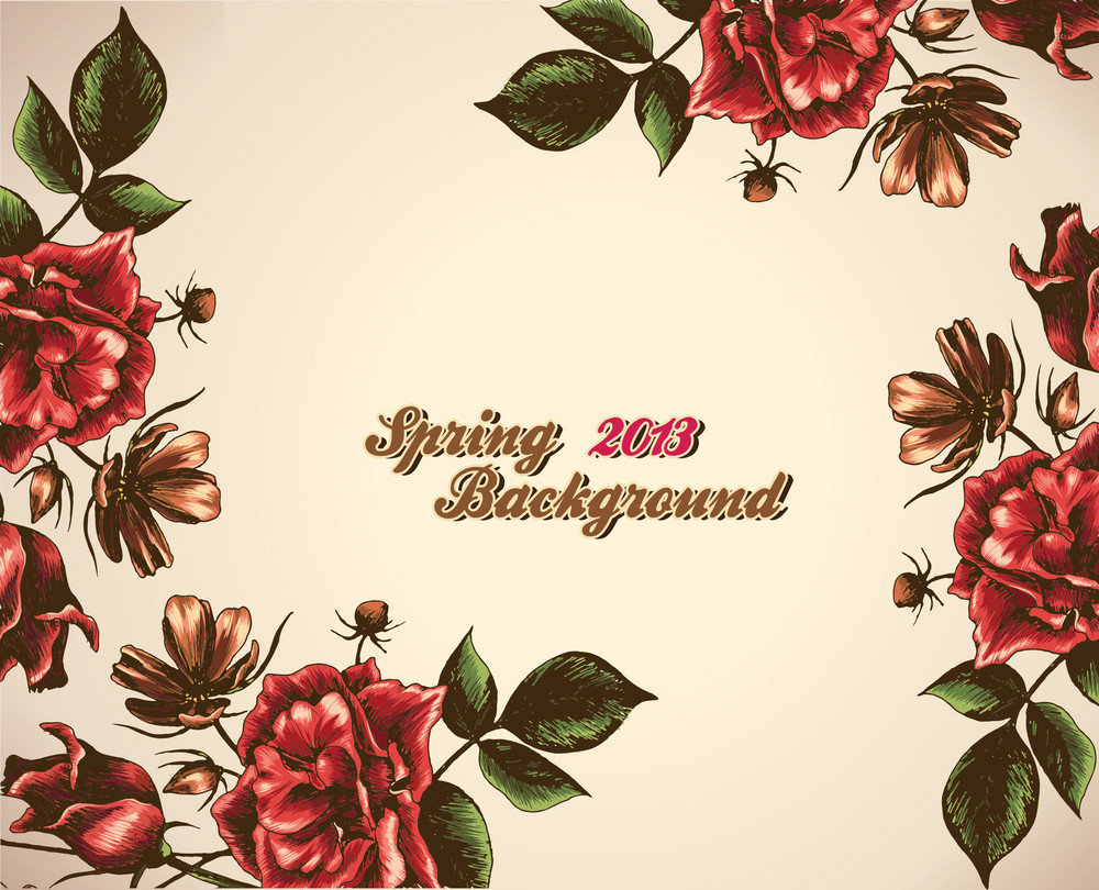 Floral Vector Background Illustration With Roses