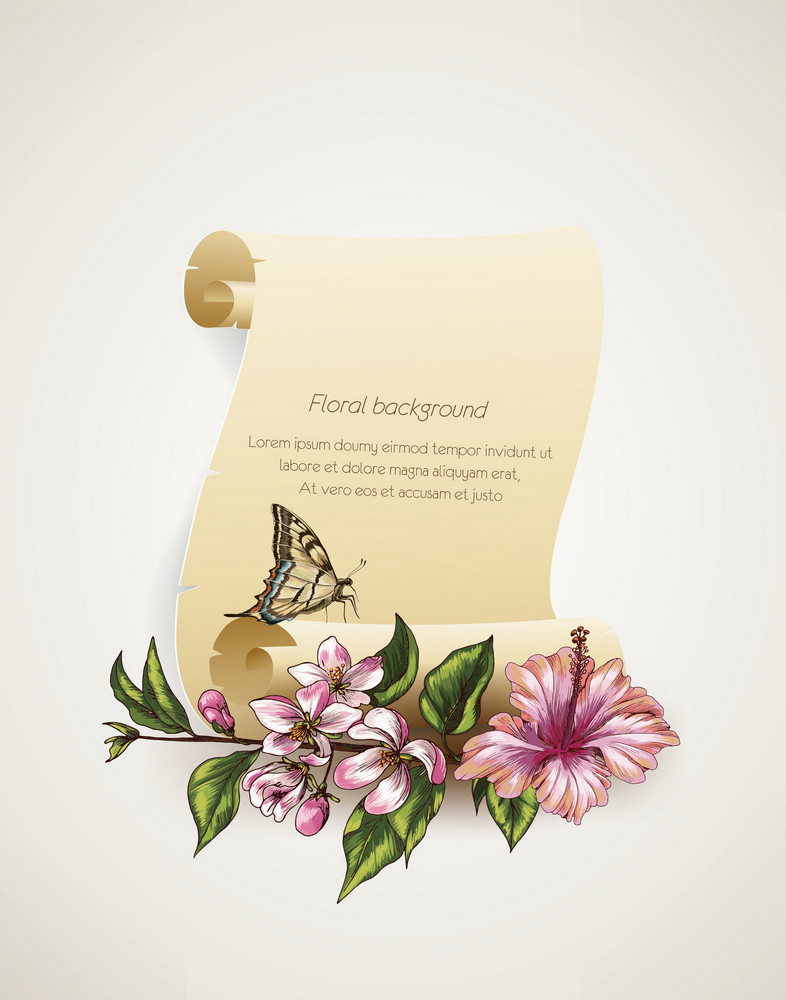 Floral Vector Background Illustration With Scroll
