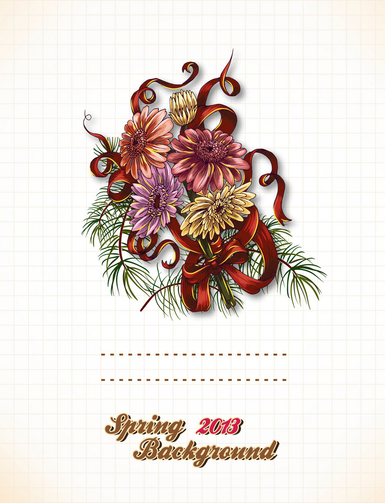 Floral Vector Background With Bow And Floral Bouquet