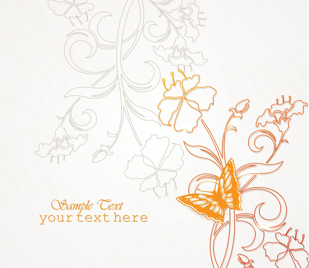Floral Vector Background With Butterfly