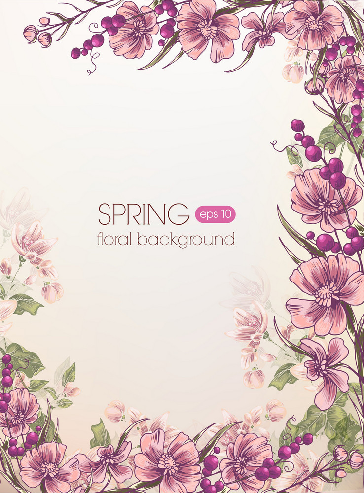 Floral Vector Background With Floral Branches