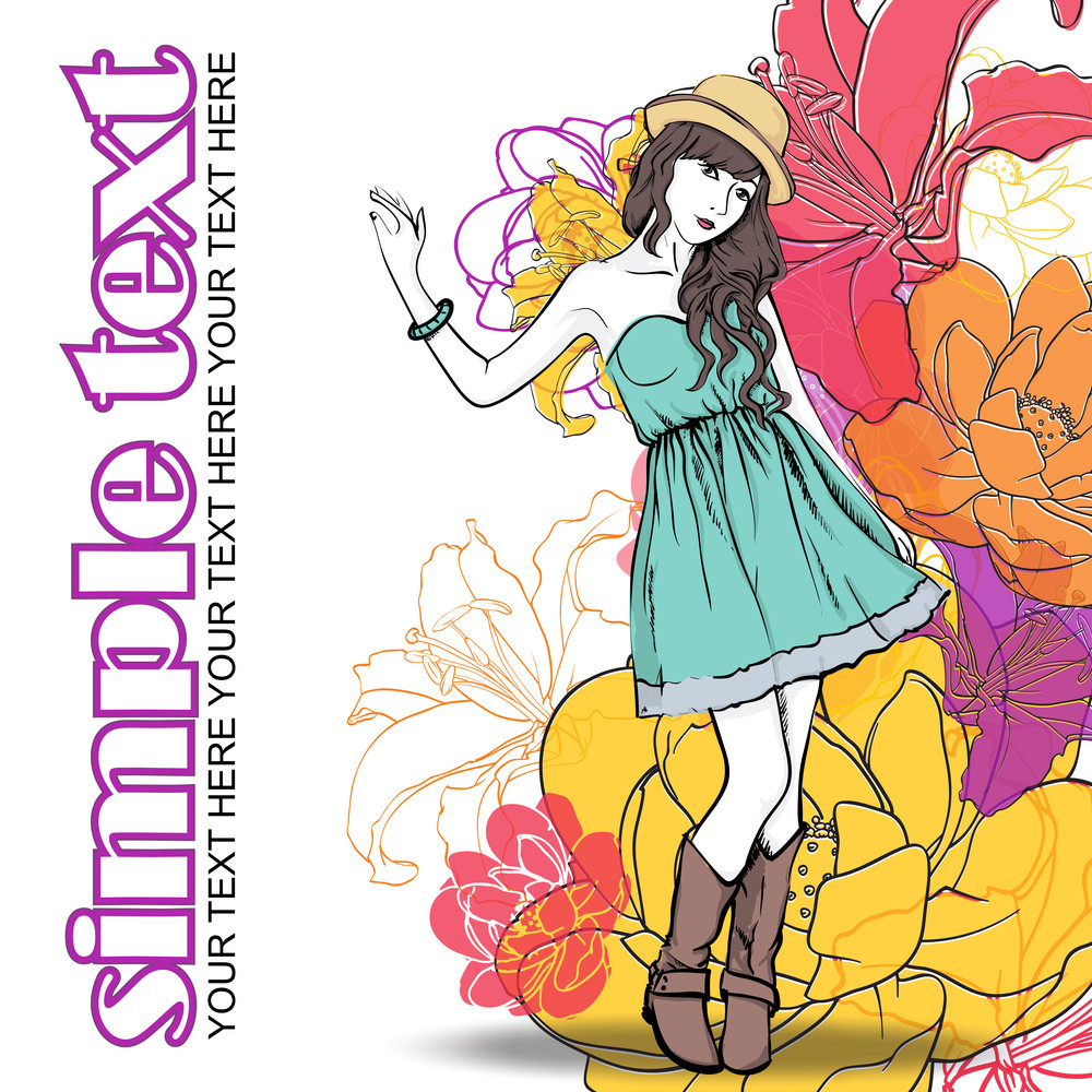Floral Vector Card With Fashion Girl.