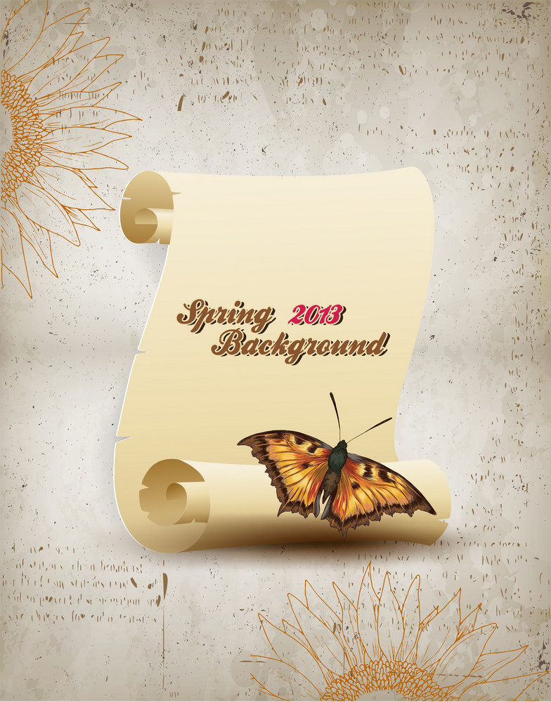 Floral Vector Illustration With Butterfly And Scroll