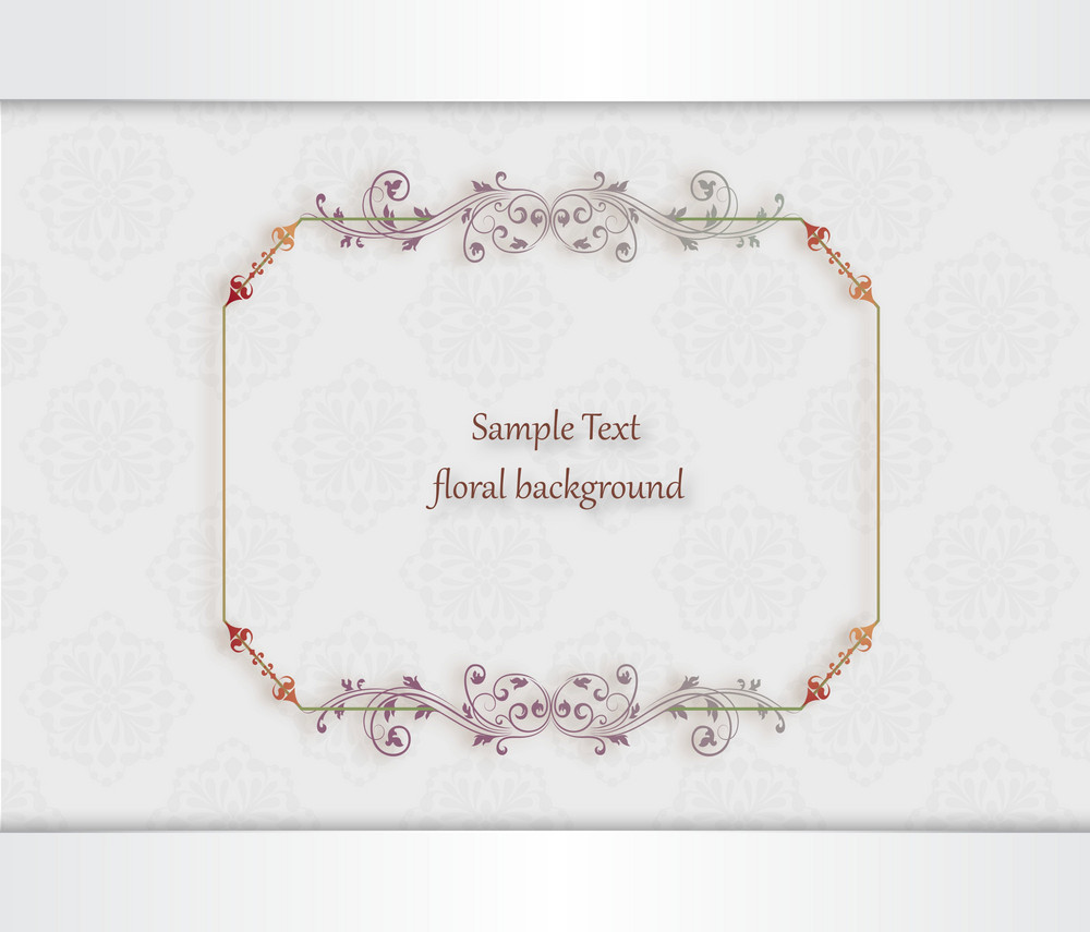 Floral Vector Illustration With Floral Frame And Floral Background