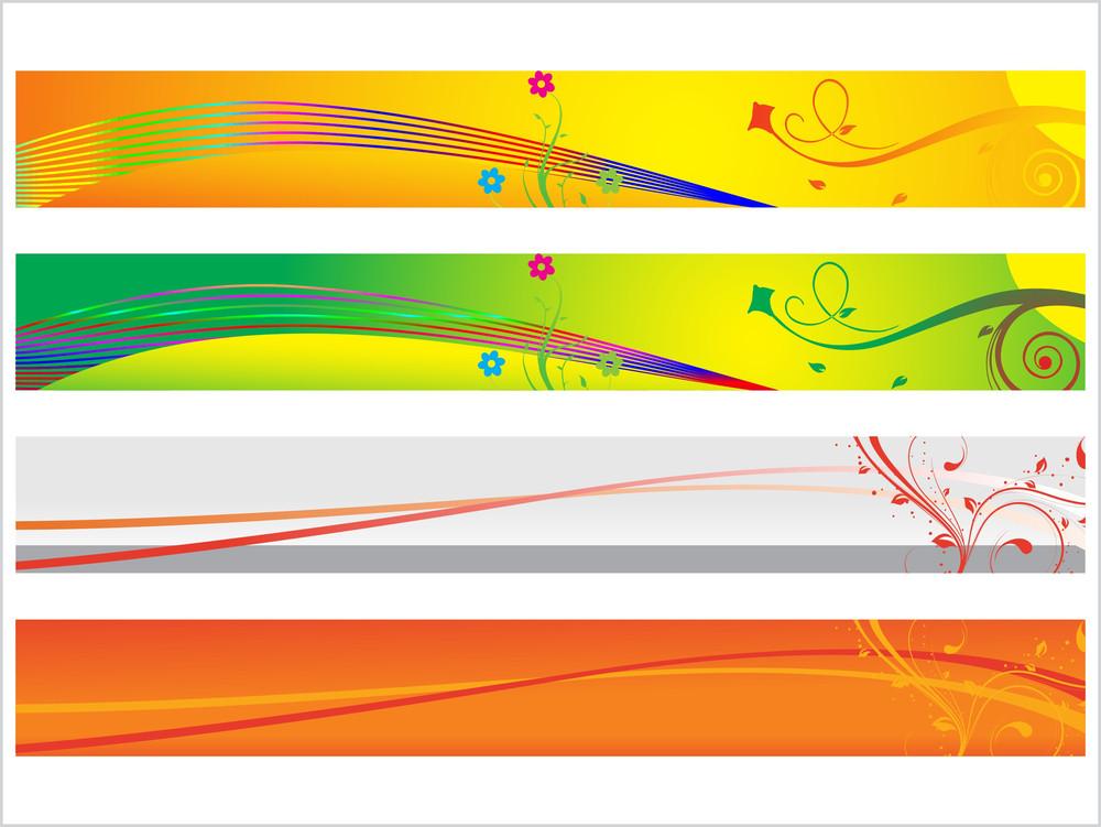 Floral Vector Web 2.0 Banner Set 3