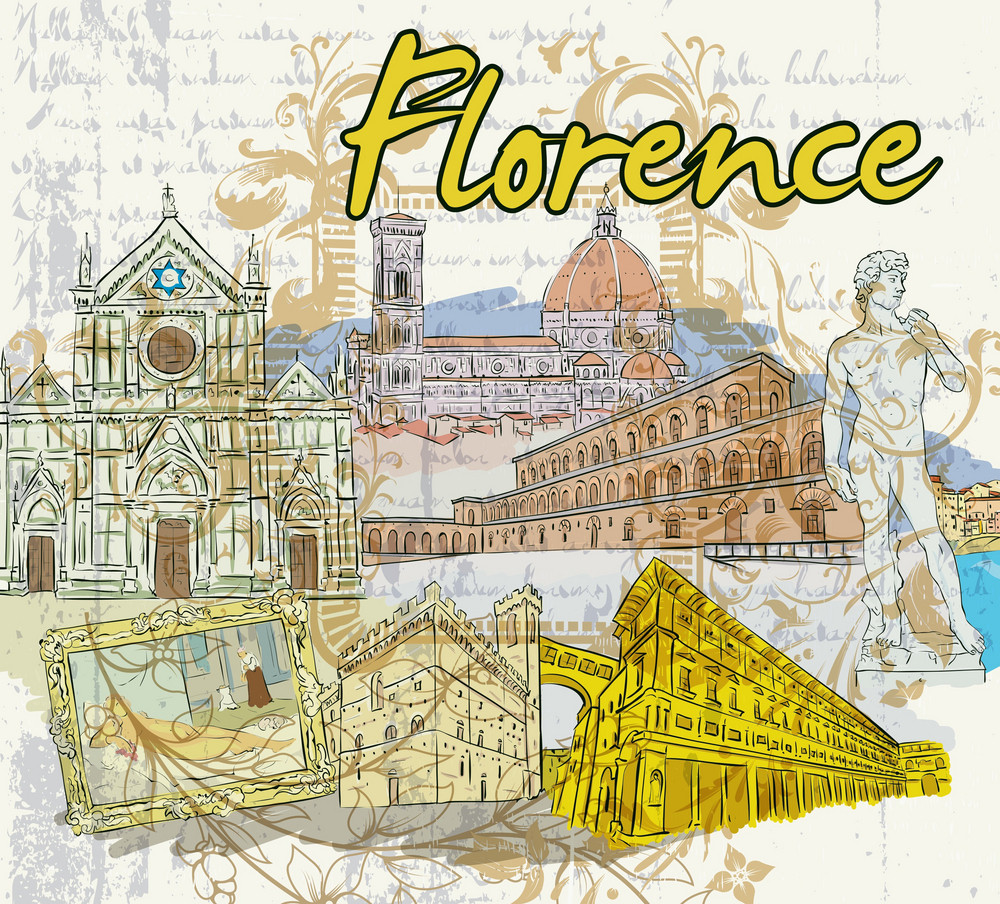 Florence Doodles Vector Illustration