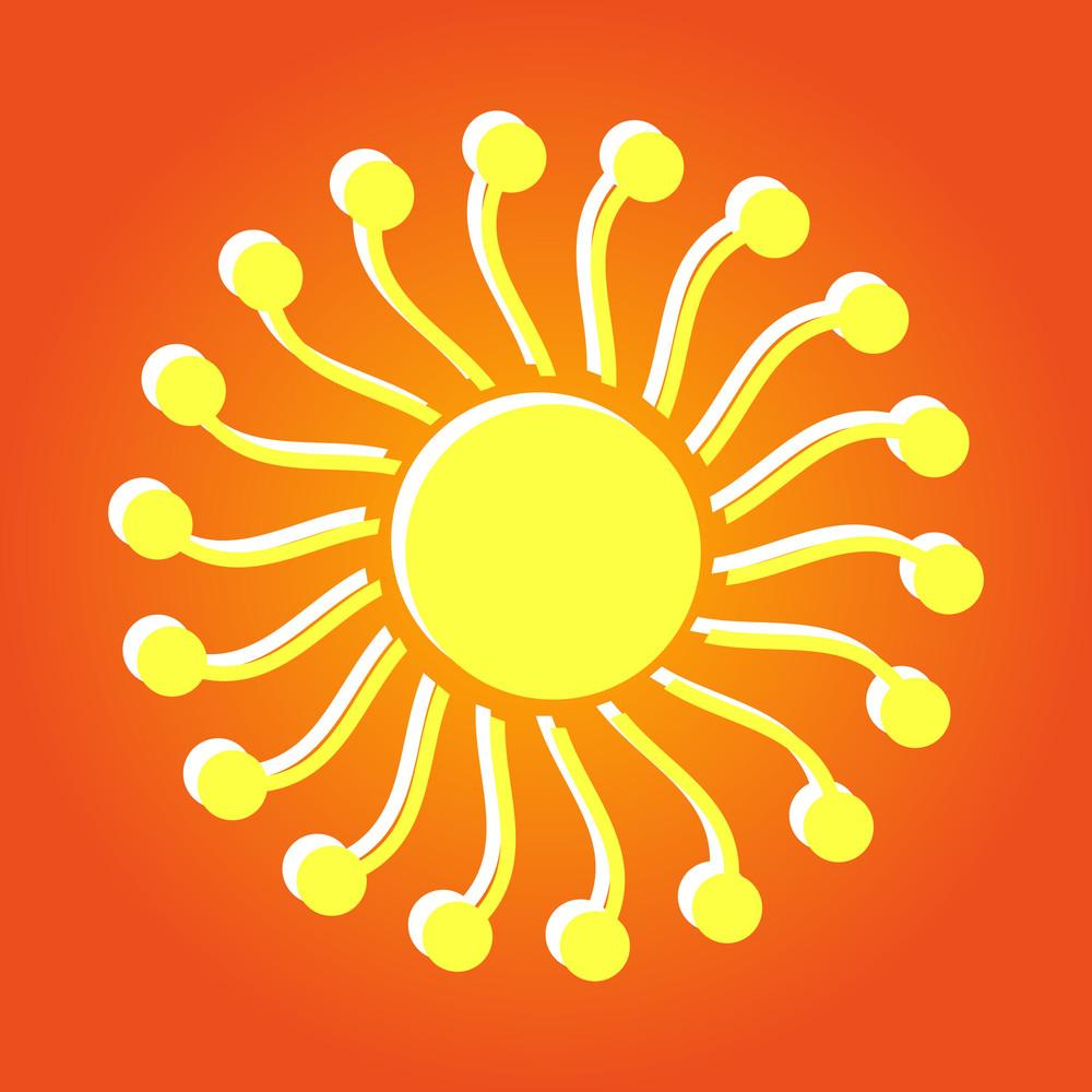 Flourish Design Swirl Sun